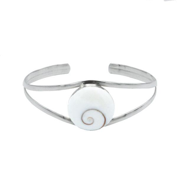 Pulsera rígida ojo de shiva ajustable plata de ley 925