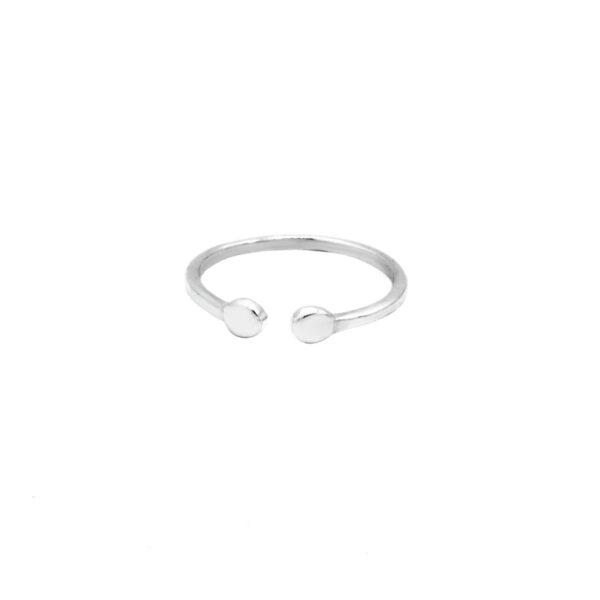 anillo dos chapitas en plata de ley 925