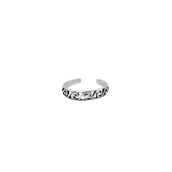 anillo olas midi plata de ley 925