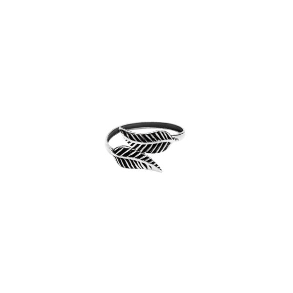 anillo midi hojas plata de ley 925