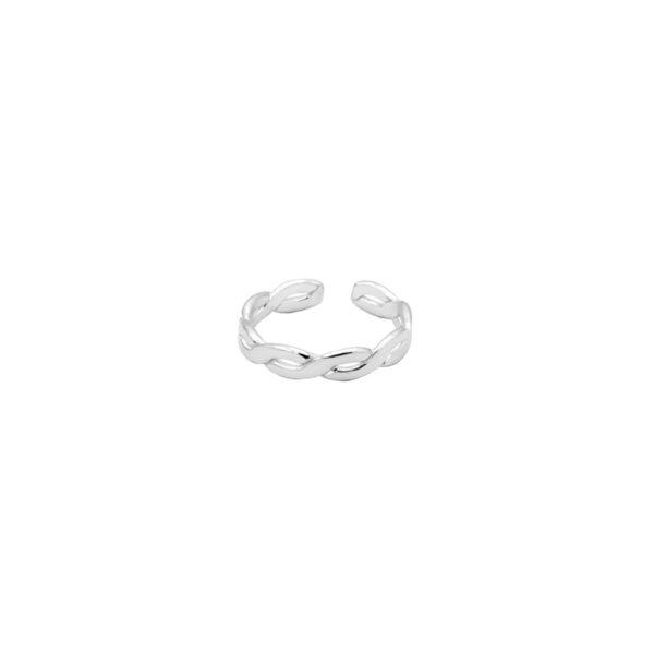 anillo midi trenzado en plata de ley 925
