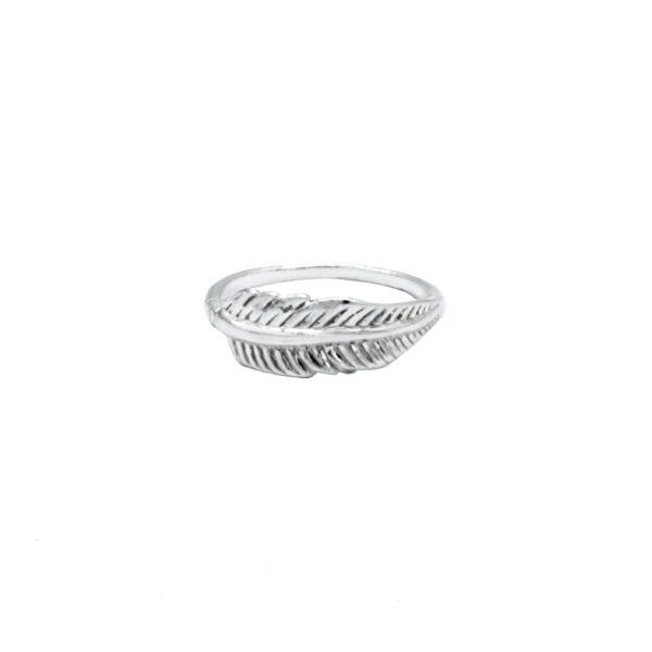 anillo pluma en plata de ley 925