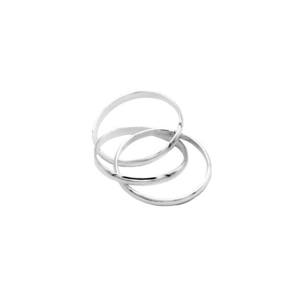 anillo tres aros en plata de ley 925