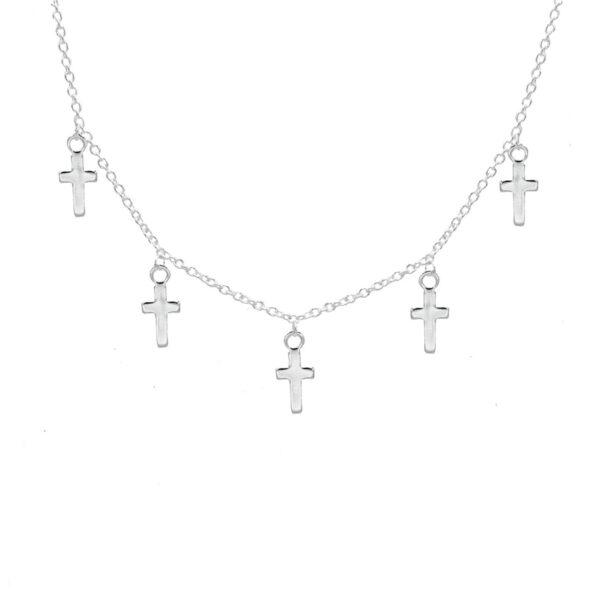 collar cruces en plata de ley 925