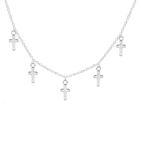 Collar cruces plata de ley 925