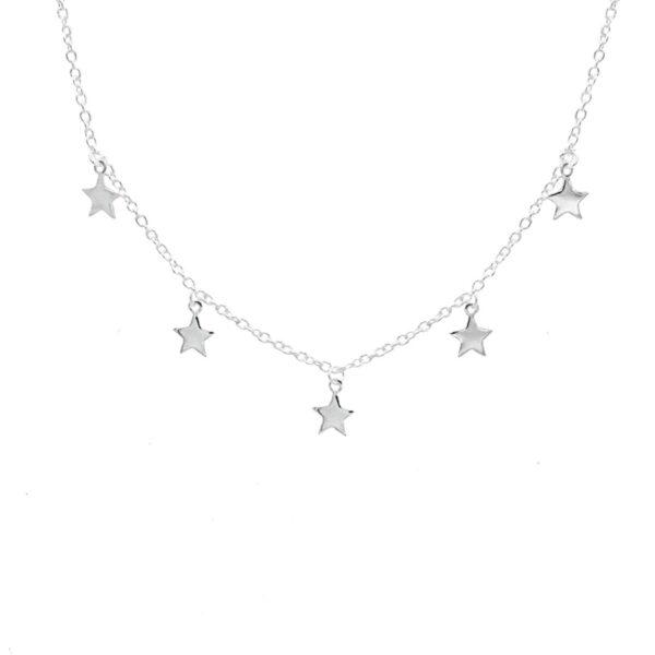 collar estrellas en plata de ley 925