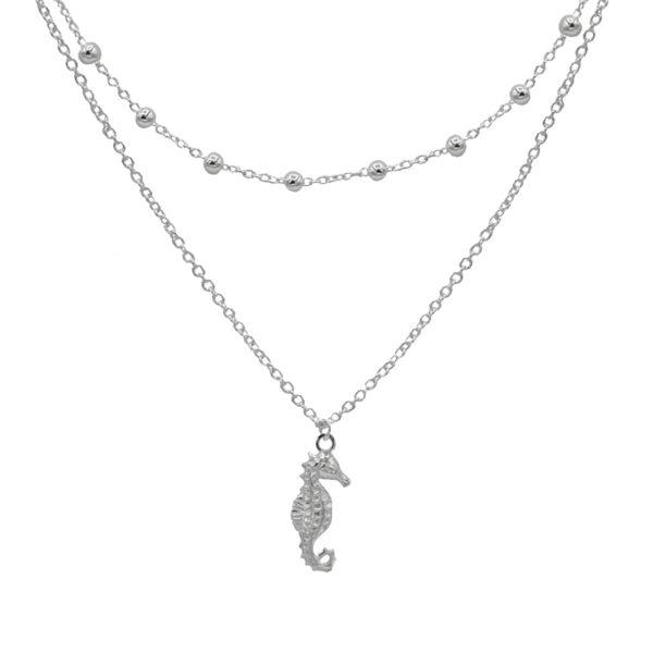 collar doble caballito de mar plata de ley 925