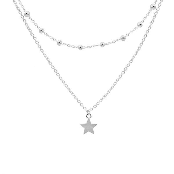 collar doble estrella en plata de ley 925