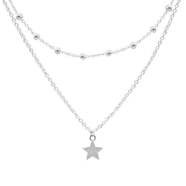 collar doble estrella plata de ley 925
