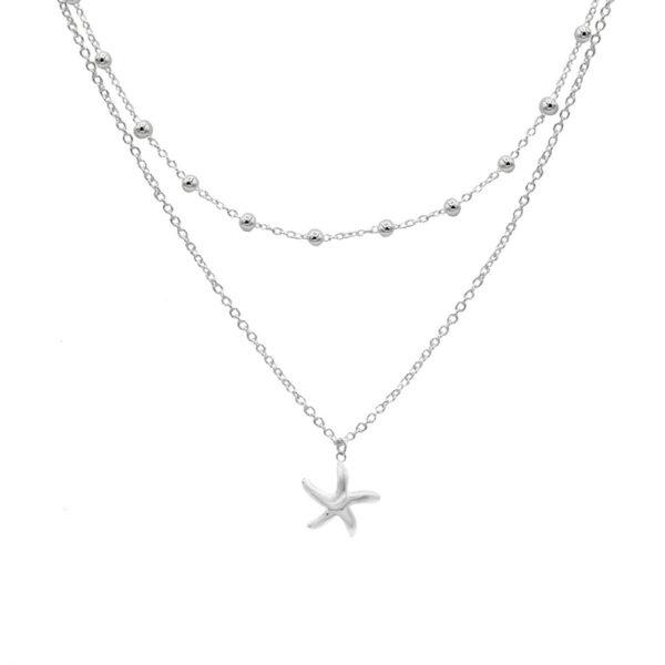 collar doble de estrella de mar en plata de ley 925
