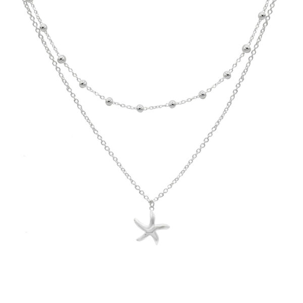 collar doble estrella de mar plata de ley 925