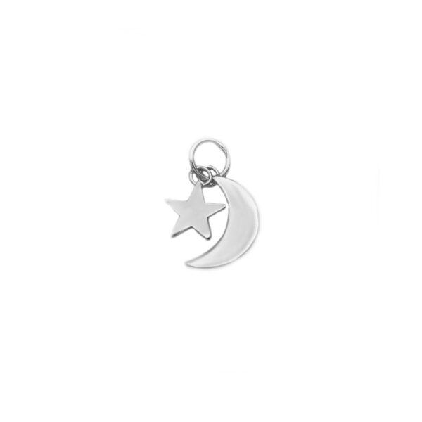 colgante luna y estrella en plata de ley 925