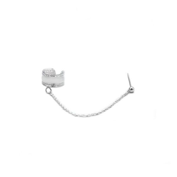 ear cuff cadena con plata de ley 925