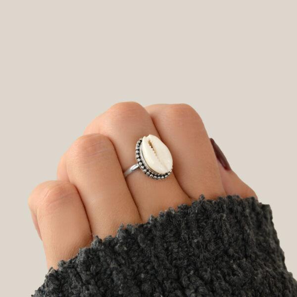anillo plata caracola