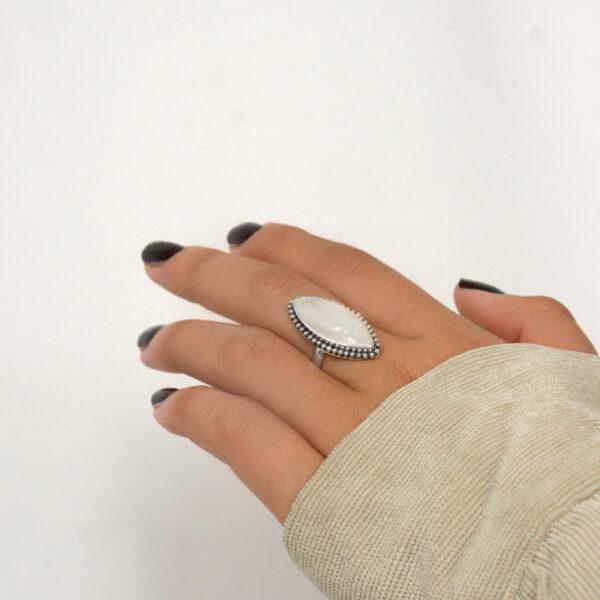 anillo plata nacar