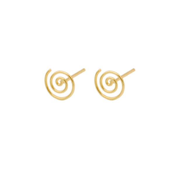 Pendiente Espiral en baño de oro