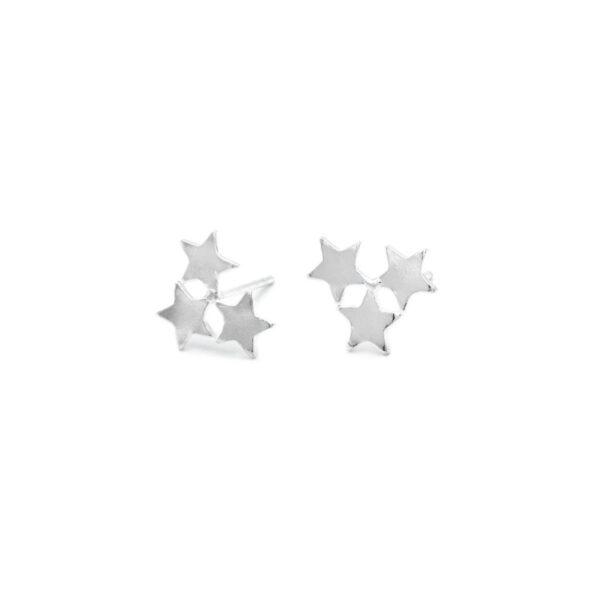 pendientes pequeños tres estrellas en plata de ley 925