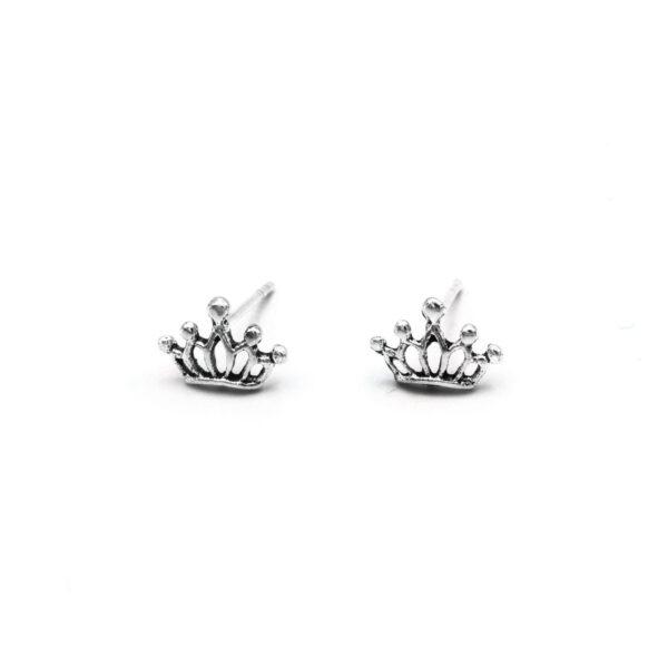 pendientes pequeños corona en plata de ley 925
