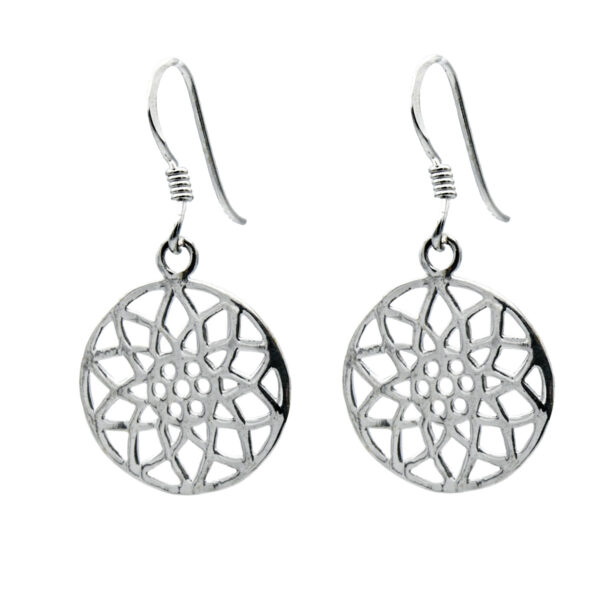 Pendientes flor simétrica plata de ley 925