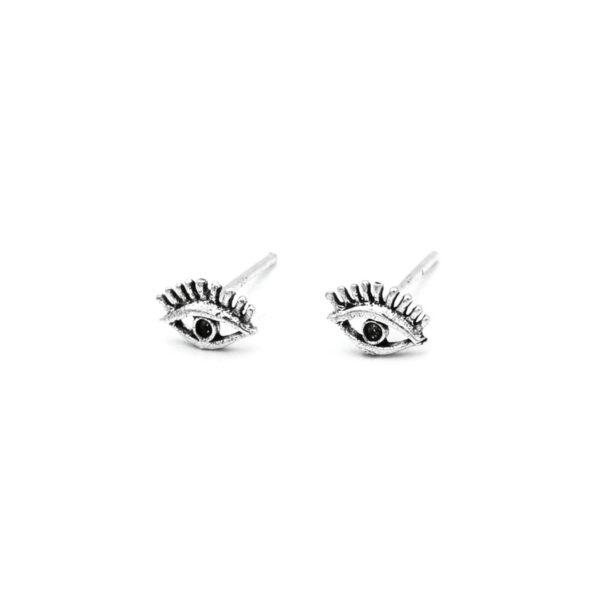pendientes pequeños ojos en plata de ley 925